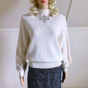 ST. JOHN Cream High Neck Jewel / Sequin Sweater